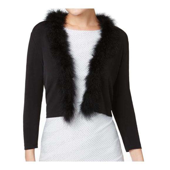 Calvin Klein Womens Black Faux Fur Cardigan M